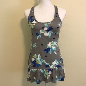 GILLY HICKS Gray & Blue Floral Tank Top